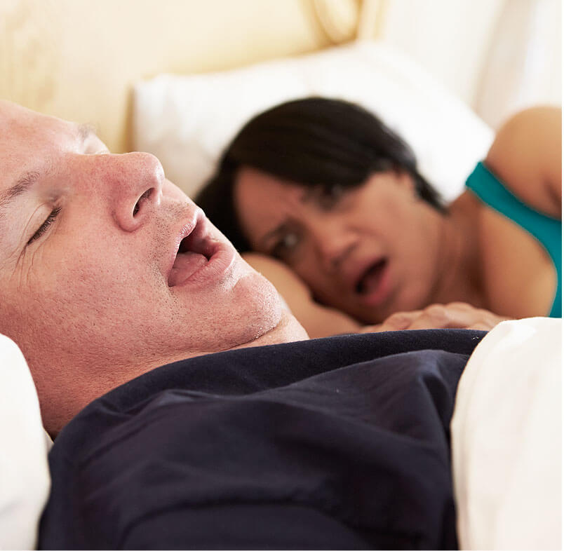 stock image shows sleeping with snoring image